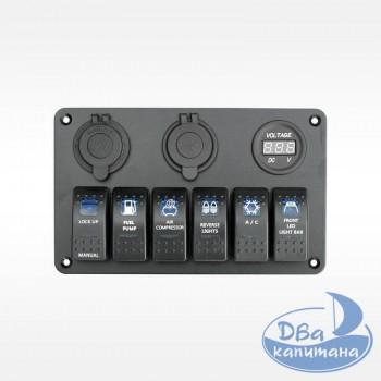 Панель переключателей на 6 кнопок с вольметром, USB и прикуривателем 8 YuJ