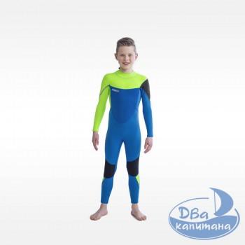 Гидрокостюм неопреновый Jobe Boston 3/2mm Wetsuit Kids Lime/Blue