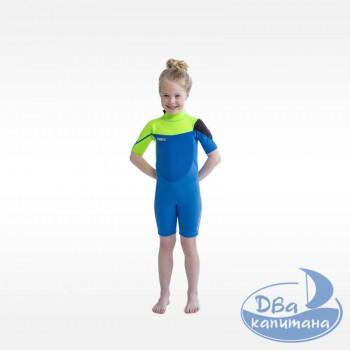 Гидрокостюм неопреновый Jobe Boston Shorty 2mm Wetsuit Kids Lime/Blue